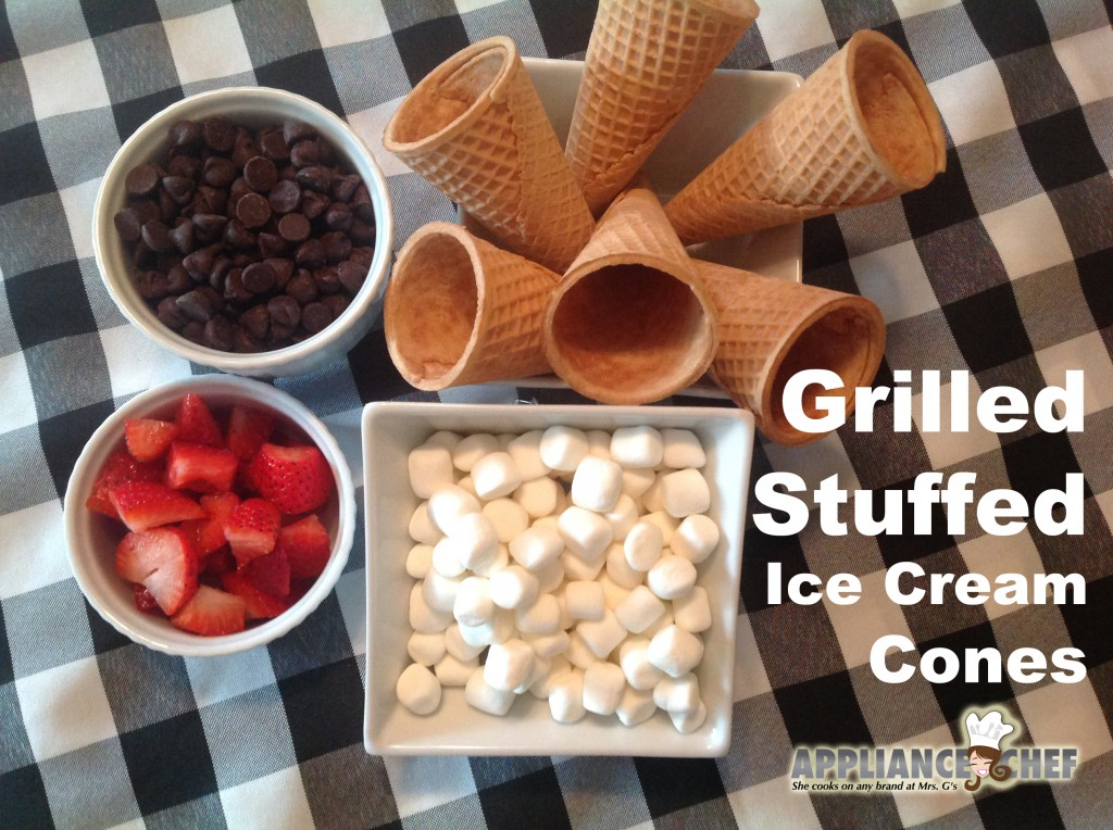 Red, White & Chocolate: Grilled Stuffed Marshmallow Ice Cream Cones | Mrs. G's Appliance Chef Blog