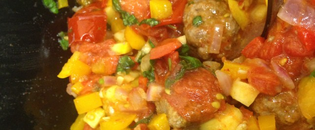 Ratatouille with Meatballs in the Jenn-Air Steam Oven